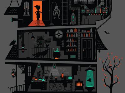Halloween Gig Poster halloween gig poster haunted house lab science scientist bats october poster illustration