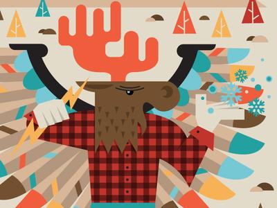 Pamola Poster poster illustration gig poster moose eagle mountain maine winter autumn snow trees thanksgiving