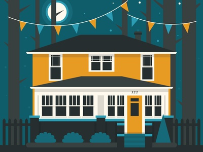 House Show poster gig poster poster illustration house party birthday moon