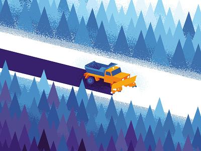 Snow Plow poster christmas michigan snow trees winter snow plow gig poster