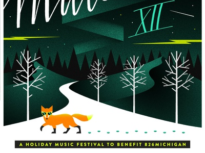 Mittenfest XII Poster! holiday fundraiser trees snow winter fox poster