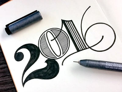2016 doodle type typography lettering pen and ink drawing hand lettering numerals