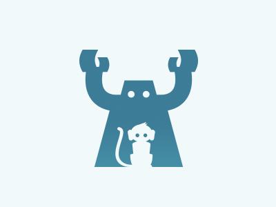 Behind You! robot monkey robot vs monkey logo