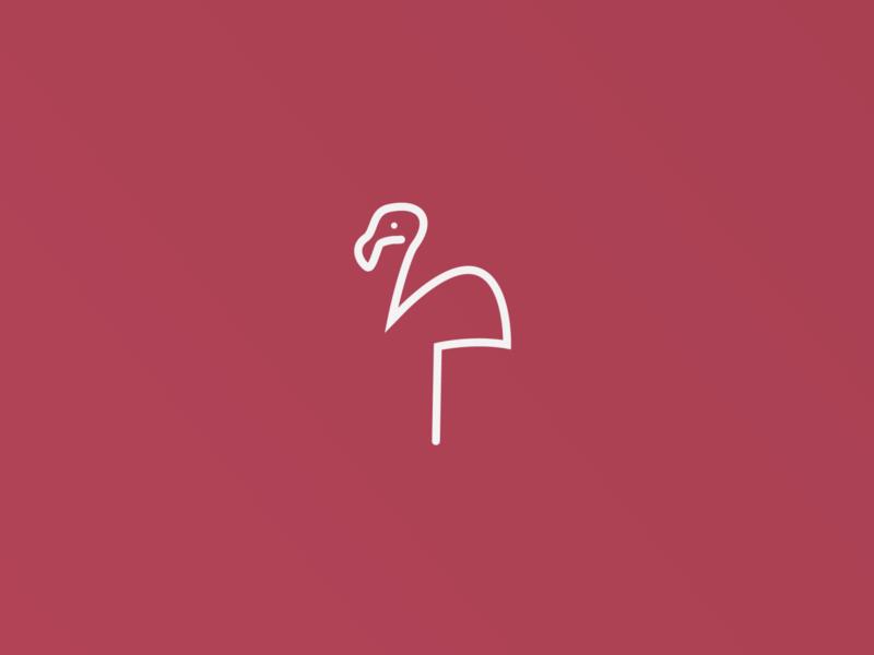 One-line Logo Design - Flamingo bird logo animal design illustration grid animals circle mark color animal logo