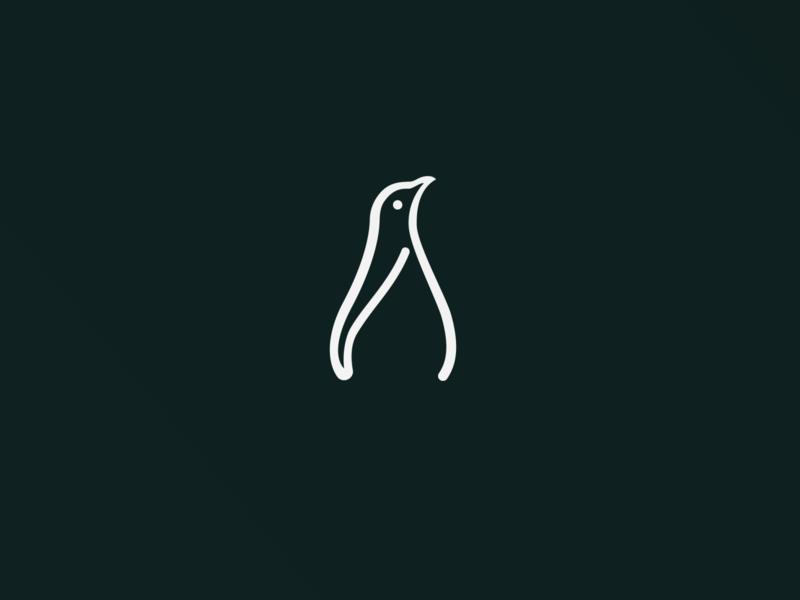 One-line Logo Design - Penguin logo animal design illustration flat grid animals circle mark color animal logo