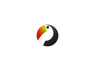 Toucan - Logo Animal animals animal toucans bird birds mark orange toucan grid circle logo