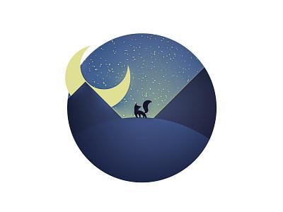 Fox in the night - Illustration vector night moon fox illustration