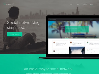 Simply Social Homepage Design invision course skillshare social homepage