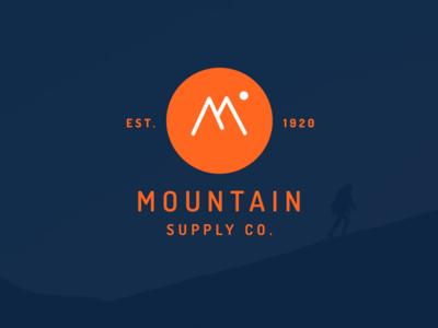 Mountain outdoors retro supply co blue orange logo mountain