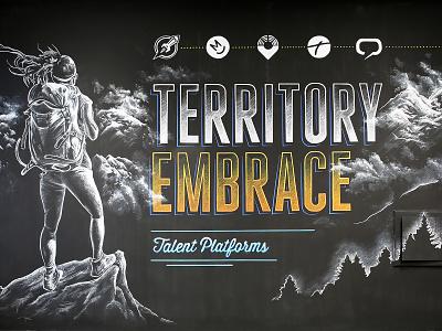 Chalkboard Territory Embrace mural chalk art chalkboard chalk illustration