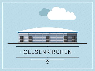 Arena stadium football architecture flat design typography vector illustration