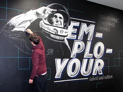 Chalkboard Employour portrait typography lettering illustration tafel kreide mural chalkboard chalk