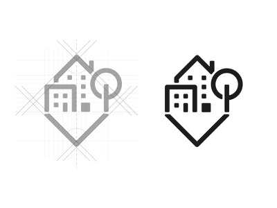 Symbol design house quarter district city logo brandmark brand symbol