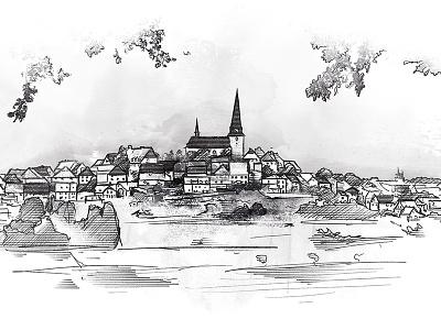Landscape illustration white black sketch tablet wacom village landscape illustration