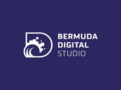 Bermuda Digital Studio logo brand brandmark symbol d wave pixel digital bermuda