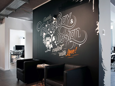 Technology & Design entrance wallpainting letters typographic painting wall mural