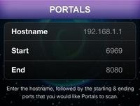 Portals Enter Host/Port View