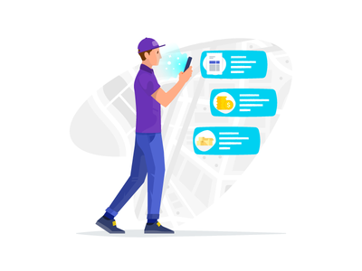 Sales Rep Illustration app invoice cash coins icons map smartphone hand smartphone driver sales rep draw illustration