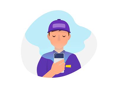 "Sales Rep Illustration ""Detail"" flat device google pixel character smartphone hand smartphone driver sales rep draw illustration"