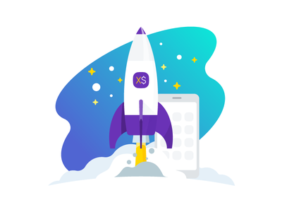 Rocket and Smartphone Illustration mobility cloud sky flat device stars smartphone launch rocket draw illustration