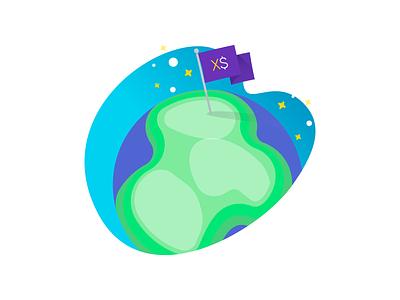 Flag over earth Illustration mobility cloud sky flat stars world earth flag draw illustration