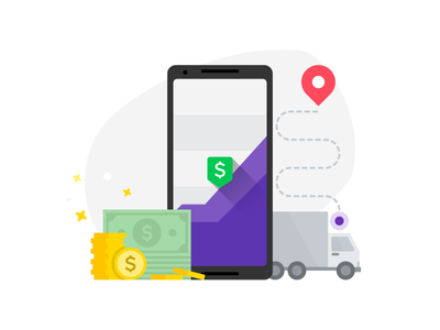 Sales Force Solution Illustration mobility cloud map route truck stars cash coins smartphone chart draw illustration