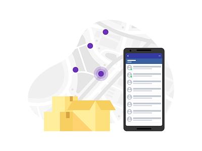 Distribution ad Custumers list Illustration mobility cloud pin map route profile customer smartphone box illustration