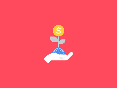 Smart move material style icon mobile app material design icons icon hand plant illustration flat dollar coin chart android
