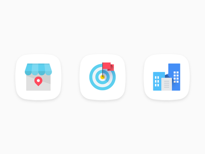 Random business material style icons company inventory sales goals customer services sales illustration building material design icons icon