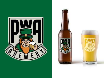 PWA Brewery Logo Design vector paddy irish brewery beer mockup illutration branding graphic design logo