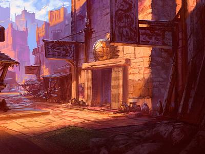 Street scene concept concept art animation