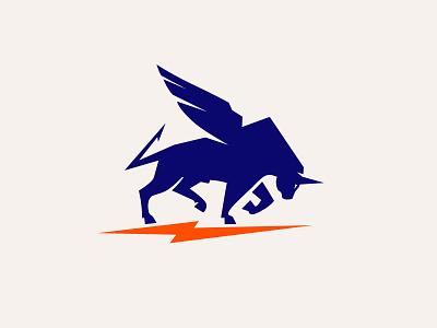Bull With Wings animal logo wing bull wings logo bull logo wings tautus bull style creative logo branding logotype logoinspiration logo design
