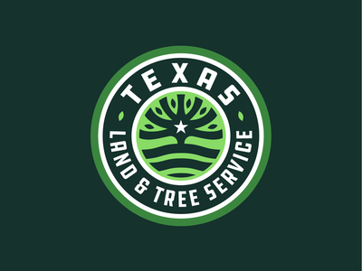 Texas Land & Tree logo badge star green tree land texas