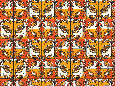 Isolated cats patterns illustration thick line orange yellow patterns animals cat