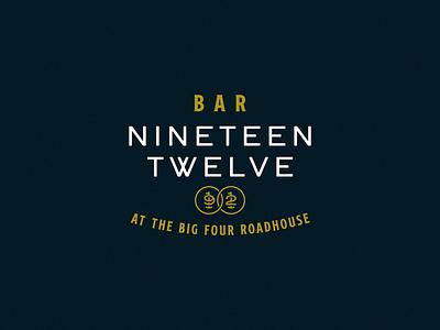 Bar Nineteen Twelve Logo monogram numbers medallion kitchen restaurant gold blue logotype bar