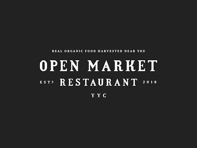 Open Market wordmark lettering bar organic harvest natural market farmers restaurant