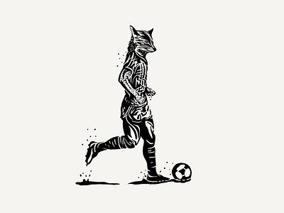 Foxballer sketchbook illustration player footballer ball football futbol fox