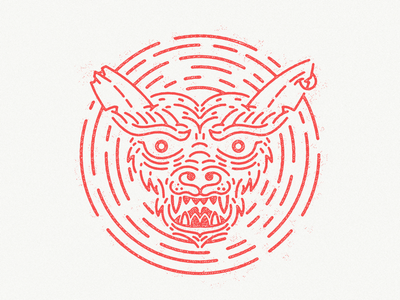 Happy Halloween texture red thick lines gremlin illustration