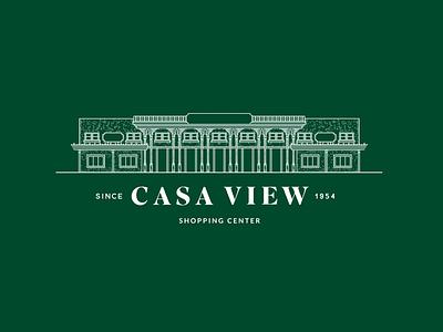 Casa View Shopping Center illustration green wordmark logo logotype indentity branding texas dallas