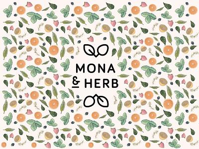 Pattern for MONA & HERB herbs fresh fruits branding corporate design logo pattern