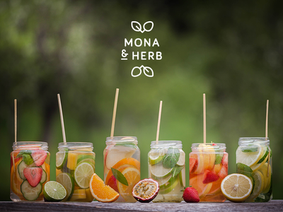 MONA & HERB - an unbelievable lovestory herbs fruits fresh drink branding logo photography