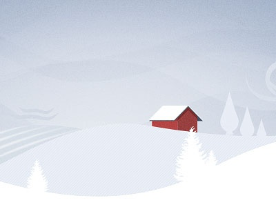 First Shot winter illustration trees snow house red