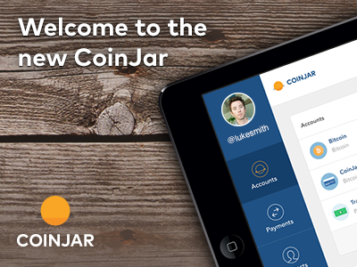The New CoinJar fintech cryptocurrency bitcoin coinjar web app finance responsive dashboard interface
