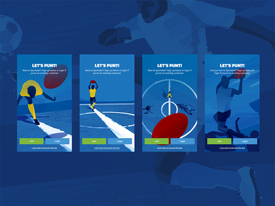 App Onboarding Illustrations sportsbet app android ui ux mobile