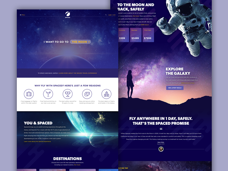 SPACED - Homepage Concept ux ui epicurrence website spacedchallenge
