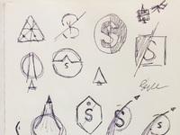 Spaced logo sketches