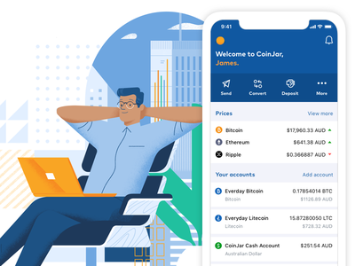 New CoinJar website fintech finance illustration cryptocurrency interface ux website ui