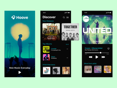Hoove - Music Discovery App dailyui figma productdesign mobile uidesign behance dribbblers userexperience dribbble cover music ux vector ui logo branding app design icon