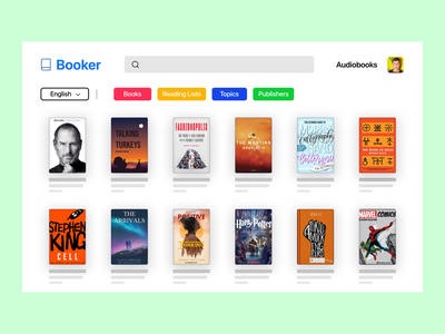 Booker - Online Book Library shades graphic design web online colourful colorful library book animation typography vector illustration ux ui app logo design branding icon