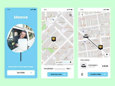 Moove - Ride-hailing App android mobile book location tesla map blue lyft uber ride car typography illustration ux ui app logo design branding icon